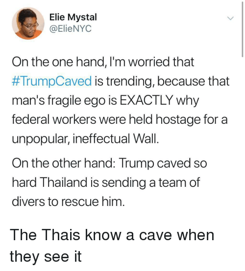 Thailand: Elie Mystal  @ElieNYOC  On the one hand, l'm worried that  #TrumpCaved is trending, because that  man's fragile ego is EXACTLY why  federal workers were held hostage for a  unpopular, ineffectual Wall.  On the other hand: Trump caved so  hard Thailand is sending a team of  divers to rescue him The Thais know a cave when they see it