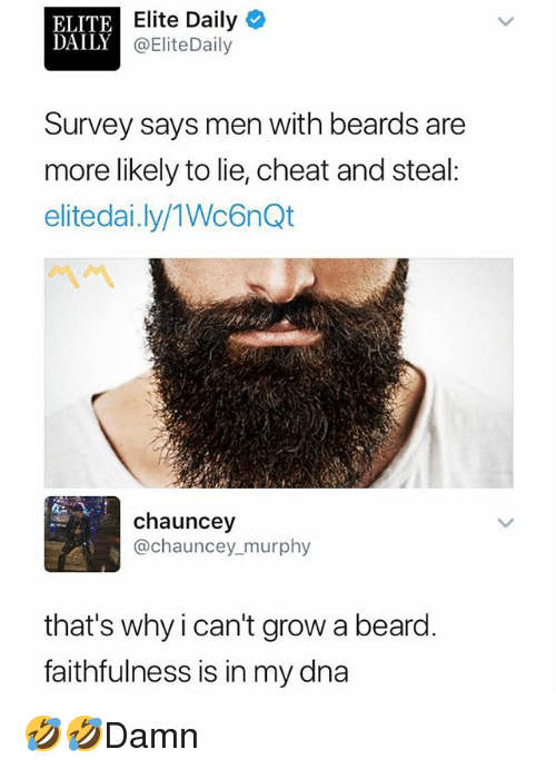 Beard, Memes, and Beards: ELITE  DAILY  Elite Daily  @EliteDaily  Survey says men with beards are  more likely to lie, cheat and steal  elitedai.ly/1Wc6nQt  chauncey  @chauncey murphy  that's why i can't grow a beard.  faithfulness is in my dna 🤣🤣Damn