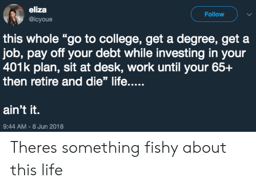 "401k: eliza  @icyoue  Follow  this whole ""go to college, get a degree, get a  job, pay off your debt while investing in your  401k plan, sit at desk, work until your 65+  then retire and die"" life....  ain't it.  9:44 AM-8 Jun 2018 Theres something fishy about this life"