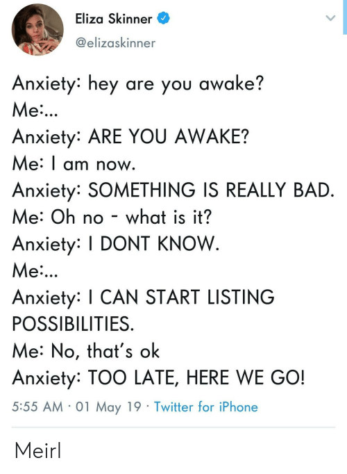 Skinner: Eliza Skinner  @elizaskinner  Anxiety: hey are you awake?  Me  Anxiety: ARE YOU AWAKE?  Me: I am now  Anxiety: SOMETHING IS REALLY BAD  Me: Oh no - what is it?  Anxiety: DONT KNOW  Me  Anxiety: I CAN START LISTING  POSSIBILITIES  Me: No, that's ok  Anxiety: TOO LATE, HERE WE GO!  5:55 AM 01 May 19 Twitter for iPhone Meirl