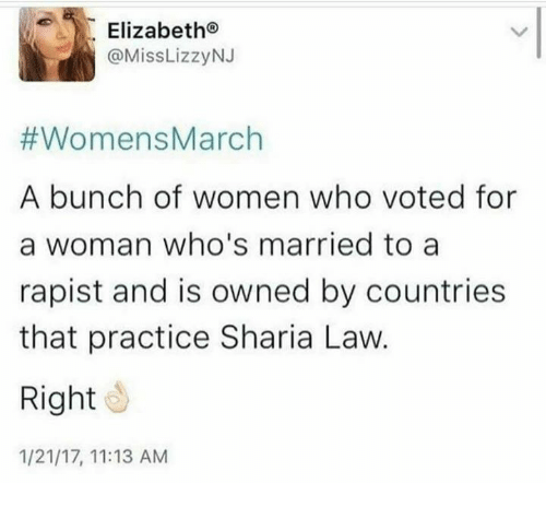 Women March: Elizabeth  @Miss Lizzy NJ  #Womens March  A bunch of women who voted for  a woman who's married to a  rapist and is owned by countries  that practice Sharia Law.  Right  1/21/17, 11:13 AM