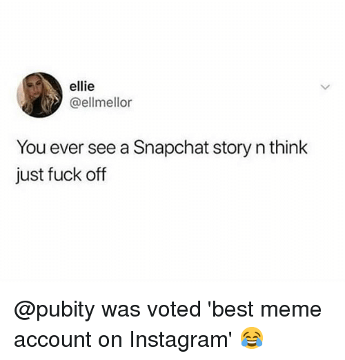Instagram, Meme, and Memes: ellie  @ellmellor  You ever see a Snapchat story n think  just fuck off @pubity was voted 'best meme account on Instagram' 😂