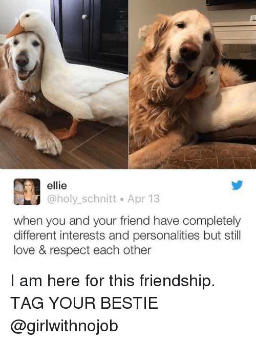 Funny, Love, and Respect: ellie  @holy_schnitt Apr 13  when you and your friend have completely  different interests and personalities but still  love & respect each other I am here for this friendship. TAG YOUR BESTIE @girlwithnojob