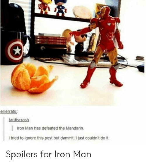 Ignore This: ellierratic  tardiscrash  Iron Man has defeated the Mandarin.  I tried to ignore this post but dammit, I just couldn't do it Spoilers for Iron Man