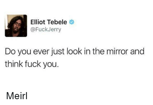 Fuckjerry: Elliot Tebele  @FuckJerry  Do you ever just look in the mirror and  think fuck you. Meirl