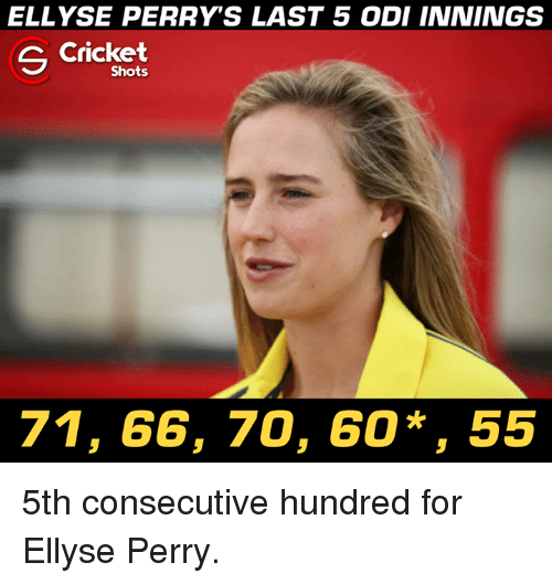 odi: ELLYSE PERRY'S LAST 5 ODI INNINGS  C Cricket  Shots  71, 66, 70, 60*, 55 5th consecutive hundred for Ellyse Perry.