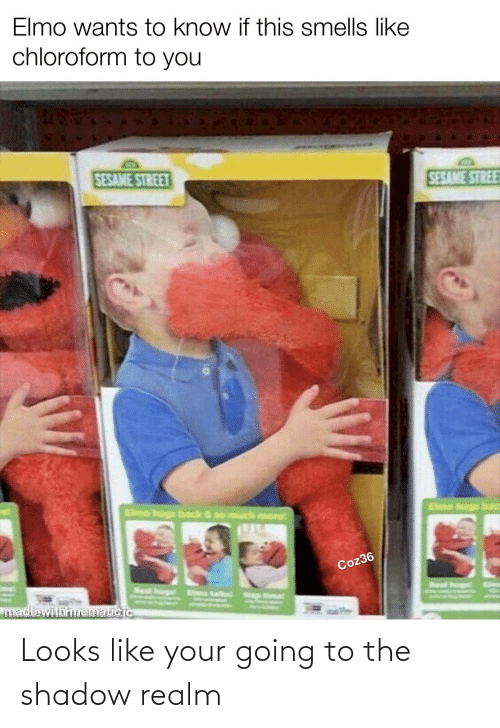 eme: Elmo wants to know if this smells like  chloroform to you  SESAME STREE  SESAME STREET  Elmo bugs bad  Elmo hugs back & so much more  Coz36  Eime  Real hun  Seal hurg  Eme talint ap  made withmematicic Looks like your going to the shadow realm