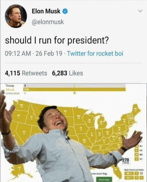 Should I Run: Elon Musk <  @elonmusk  should I run for president?  09:12 AM 26 Feb 19 Twitter for rocket boi  4,115 Retweets 6,283 Likes  Trump  Musk  Undecided  528  wv  12  N2  DE  MO  DC  ated Map  Share Mag