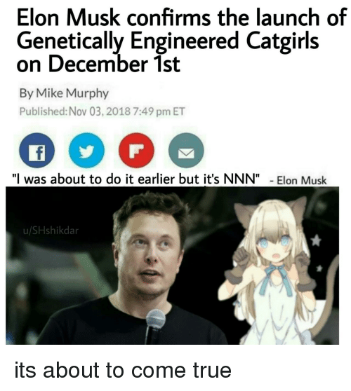 "December 1St: Elon Musk confirms the launch of  Genetically Engineered Catgirls  on December 1st  By Mike Murphy  Published: Nov 03, 2018 7:49 pm ET  ""I was about to do it earlier but it's NNN""Elon Musk  u/SHshikdar its about to come true"