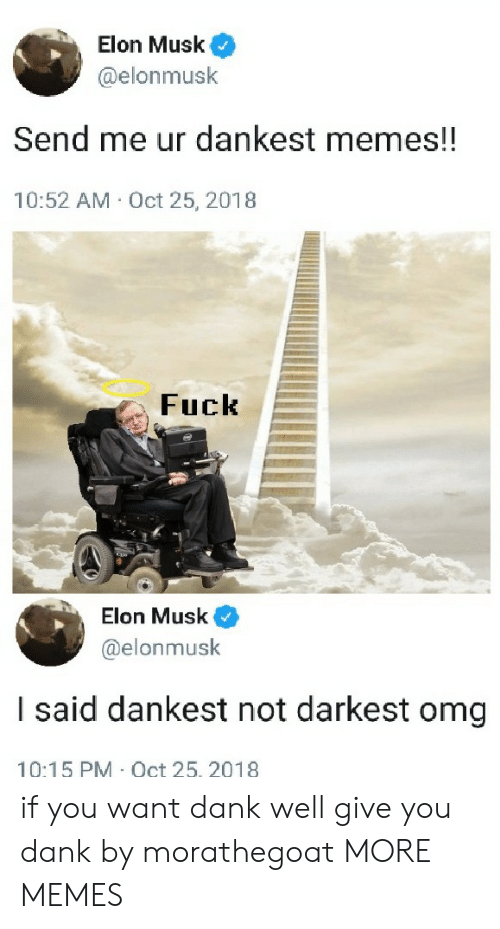 Dankest Memes: Elon Musk  @elonmusk  Send me ur dankest memes!!  10:52 AM Oct 25, 2018  Fuck  Elon Musk  @elonmusk  I said dankest not darkest omg  10:15 PM Oct 25. 2018 if you want dank well give you dank by morathegoat MORE MEMES