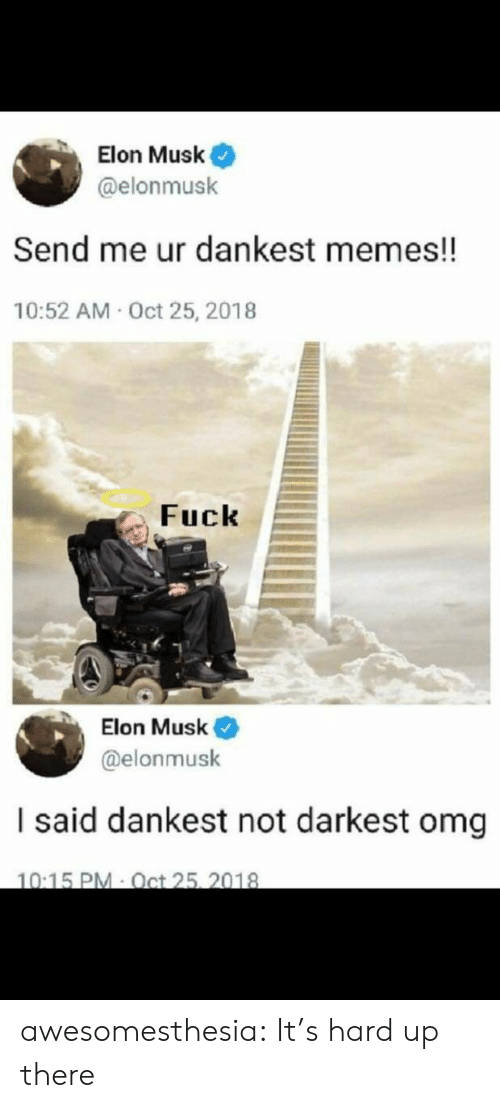 Dankest: Elon Musk  @elonmusk  Send me ur dankest memes!!  10:52 AM Oct 25, 2018  Fuck  Elon Musk  @elonmusk  I said dankest not darkest omg  10:15 PM Oct 25, 2018 awesomesthesia:  It's hard up there