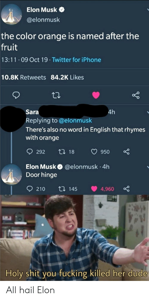 Elonmusk: Elon Musk  @elonmusk  the color orange is named after the  fruit  13:11 O9 Oct 19 Twitter for iPhone  10.8K Retweets 84.2K Likes  Sara  4h  Replying to @elonmusk  There's also no word in English that rhymes  with orange  t 18  292  950  Elon Musk  Door hinge  @elonmusk 4h  .  210  ti 145  4,960  Holy shit you fucking killed her dude All hail Elon