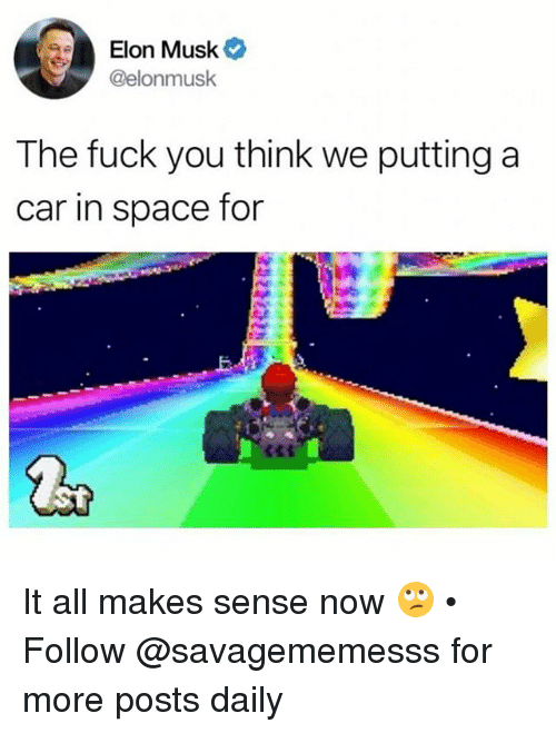 Fuck You, Memes, and Fuck: Elon Musk  @elonmusk  The fuck you think we putting a  car in space for It all makes sense now 🙄 • Follow @savagememesss for more posts daily