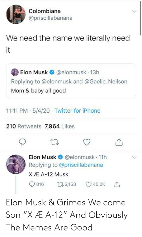 """elon musk: Elon Musk & Grimes Welcome Son """"X Æ A-12"""" And Obviously The Memes Are Good"""