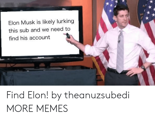 Lurking: Elon Musk is likely lurking  this sub and we need to  find his account Find Elon! by theanuzsubedi MORE MEMES