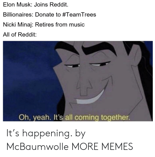 nicki: Elon Musk: Joins Reddit.  Billionaires: Donate to #TeamTrees  Nicki Minaj: Retires from music  All of Reddit:  Oh, yeah. It's all coming together It's happening. by McBaumwolle MORE MEMES