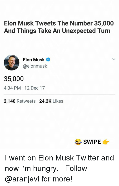 Hungry, Memes, and Twitter: Elon Musk Tweets The Number 35,000  And Things Take An Unexpected Turn  Elon Musk  @elonmusk  35,000  4:34 PM 12 Dec 17  2,140 Retweets 24.2K Likes  SWIPE I went on Elon Musk Twitter and now I'm hungry.   Follow @aranjevi for more!