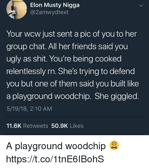WCW: Elon Musty Nigga  @2amwydtext  Your wcw just sent a pic of you to her  group chat. All her friends said you  ugly as shit. You're being cooked  relentlessly rn. She's trying to defend  you but one of them said you built like  a playground woodchip. She giggled  5/19/18, 2:10 AM  11.6K Retweets 50.9K Likes A playground woodchip 😩 https://t.co/1tnE6IBohS