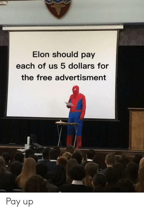 Advertisment: Elon should pay  each of us 5 dollars for  the free advertisment Pay up