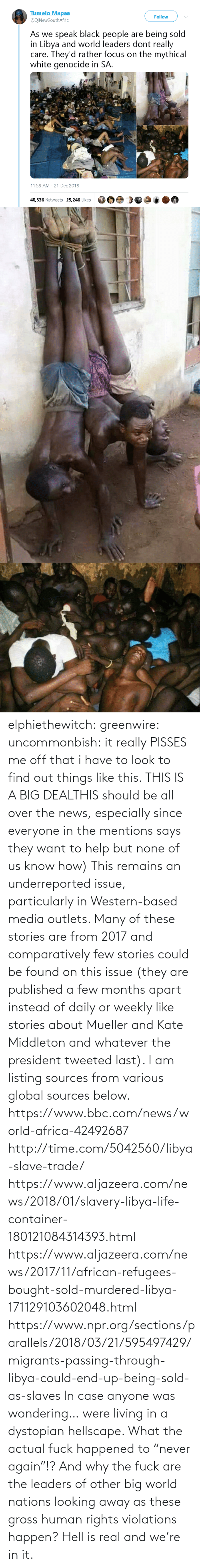 "african: elphiethewitch: greenwire:  uncommonbish:  it really PISSES me off that i have to look to find out things like this. THIS IS A BIG DEALTHIS should be all over the news, especially since everyone in the mentions says they want to help but none of us know how)  This remains an underreported issue, particularly in Western-based media outlets. Many of these stories are from 2017 and comparatively few stories could be found on this issue (they are published a few months apart instead of daily or weekly like stories about Mueller and Kate Middleton and whatever the president tweeted last). I am listing sources from various global sources below.  https://www.bbc.com/news/world-africa-42492687 http://time.com/5042560/libya-slave-trade/ https://www.aljazeera.com/news/2018/01/slavery-libya-life-container-180121084314393.html https://www.aljazeera.com/news/2017/11/african-refugees-bought-sold-murdered-libya-171129103602048.html https://www.npr.org/sections/parallels/2018/03/21/595497429/migrants-passing-through-libya-could-end-up-being-sold-as-slaves   In case anyone was wondering… were living in a dystopian hellscape.  What the actual fuck happened to ""never again""!? And why the fuck are the leaders of other big world nations looking away as these gross human rights violations happen?  Hell is real and we're in it."