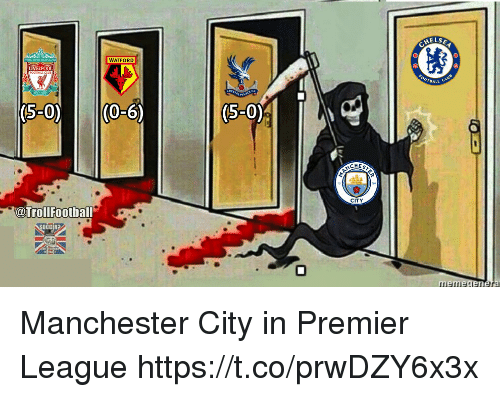 Memes, Premier League, and Liverpool F.C.: ELSE  WATFORD  LIVERPOOL  BALL  5-0 (0-6)  (S-O)  CITY  @TrollFootball  OCCER? Manchester City in Premier League https://t.co/prwDZY6x3x