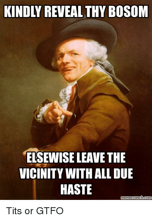 Meme, Memes, and Tits: ELSEWISE LEAVE THE  VICINITY WITH ALL DUE  HASTE  meme crunch-Com Tits or GTFO