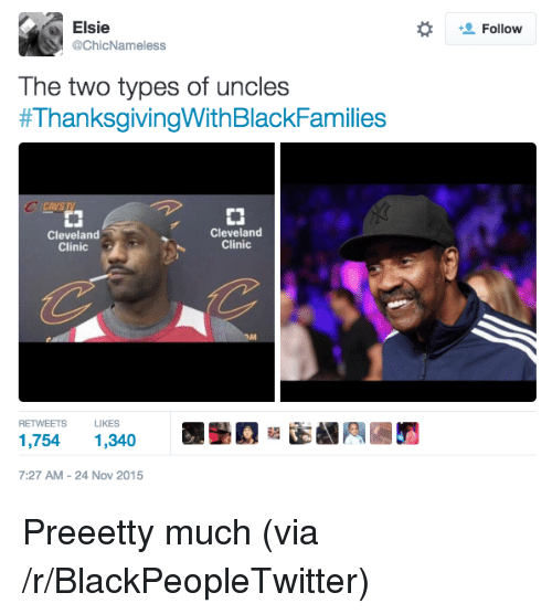 cleveland clinic: Elsie  @ChicNameless  Follow  The two types of uncles  #ThanksgivingWith BlackFamilies  CCAVS TV  CJ  Cleveland  Clinic  Cleveland  Clinic  RETWEETS LKES  1,754 1,340  7:27 AM-24 Nov 2015 <p>Preeetty much (via /r/BlackPeopleTwitter)</p>
