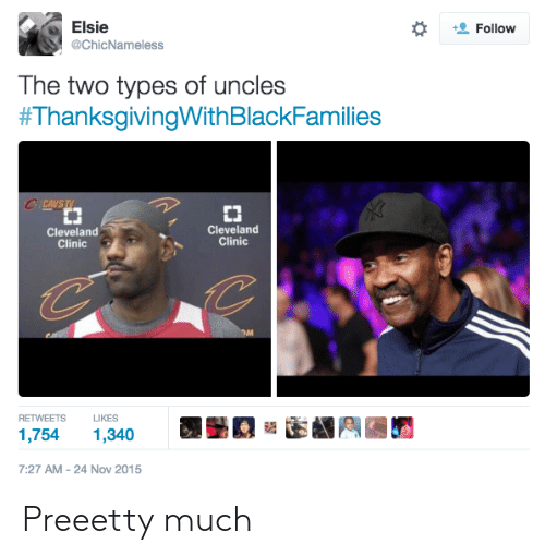 cleveland clinic: Elsie  @ChicNameless  Follow  The two types of uncles  #ThanksgivingWith BlackFamilies  CCAVS TV  CJ  Cleveland  Clinic  Cleveland  Clinic  RETWEETSLIKES  1,754 1,340  7:27 AM-24 Nov 2015 Preeetty much