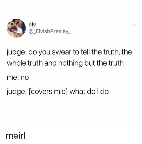 Tell The Truth: elv  @_ElvishPresley  judge: do you swear to tell the truth, the  whole truth and nothing but the truth  me: nd  judge: [covers mic] what do l do meirl