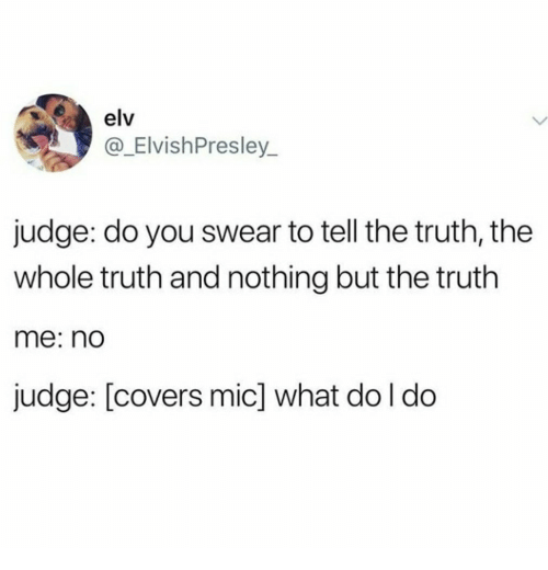 Tell The Truth: elv  @_ElvishPresley_  judge: do you swear to tell the truth, the  whole truth and nothing but the truth  me: nd  judge: [covers mic] what do l do