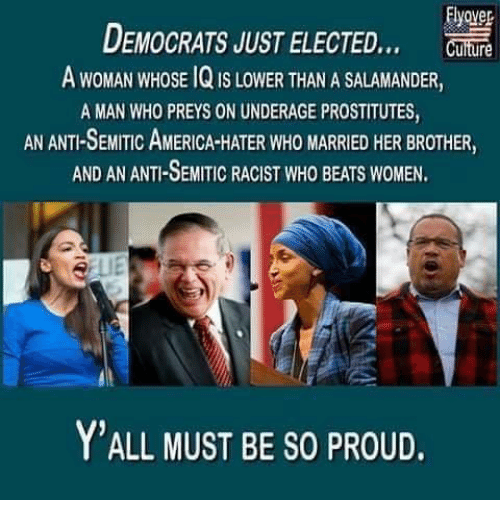 prostitutes: Elyover  DEMOCRATS JUST ELECTED  A WOMAN WHOSE 1Q IS LOWER THAN A SALAMANDER,  A MAN WHO PREYS ON UNDERAGE PROSTITUTES  AN ANTI-SEMITIC AMERICA-HATER WHO MARRIED HER BROTHER,  AND AN ANTI-SEMITIC RACIST WHO BEATS WOMEN  Y'ALL MUST BE SO PROUD.