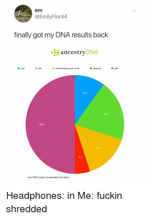 remember the name: em  @EmilyFlor44  finally got my DNA results back  ancestryDNA  O luck  skil  concentrated power of wil  pleasure  pain  10%  20%  50%  15%  5%  and 100% reason to remember the name.. Headphones: in Me: fuckin shredded