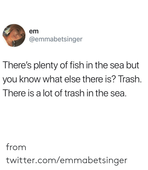 Plenty of Fish: em  @emmabetsinger  There's plenty of fish in the sea but  you know what else there is? Trash.  There is a lot of trash in the sea. from twitter.com/emmabetsinger