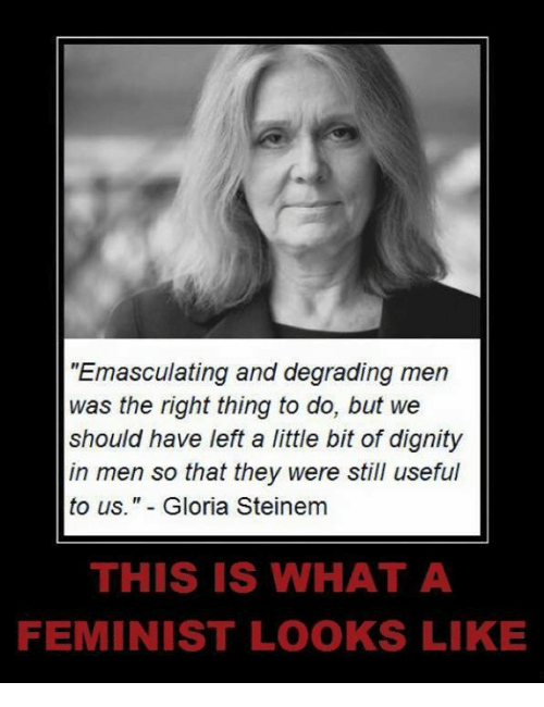 "Memes, 🤖, and Gloria Steinem: ""Emasculating and degrading men  was the right thing to do, but we  should have left a little bit of dignity  in men so that they were still useful  to us."" Gloria Steinem  THIS IS WHAT A  FEMINIST LOOKS LIKE"