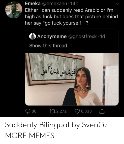 """Arabic: Emeka @emekanu 14h  Either i can suddenly read Arabic or I'm  high as fuck but does that picture behind  her say """"go fuck yourself"""" ?  Anonymeme @ghostfrexk 1d  Show this thread  ال خا متن دق  L12,272  86  6,333 Suddenly Bilingual by SvenGz MORE MEMES"""