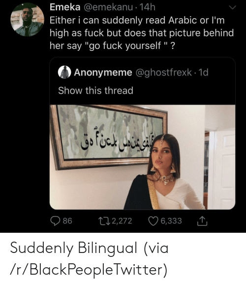 """Arabic: Emeka @emekanu 14h  Either i can suddenly read Arabic or I'm  high as fuck but does that picture behind  her say """"go fuck yourself"""" ?  Anonymeme @ghostfrexk 1d  Show this thread  ال خا متن دق  L12,272  86  6,333 Suddenly Bilingual (via /r/BlackPeopleTwitter)"""