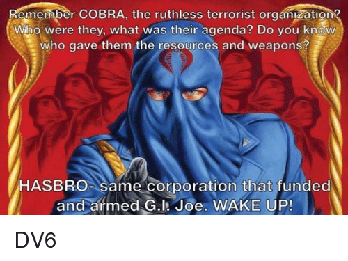 Memes, Ruthless, and 🤖: emember COBRA, the ruthless terrorist organization  Who were they, what was their agenda? Do you know  who gave them the resources and weapons?  HASBRo- same corporation that funded  and armed G.l Joe. WAKE UP! DV6