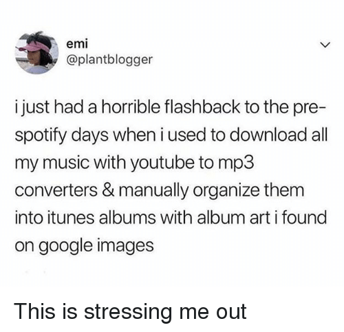Google, Music, and youtube.com: emi  @plantblogger  i just had a horrible flashback to the pre-  spotify days when i used to download all  my music with youtube to mp3  converters & manually organize them  into itunes albums with album art i found  on google images This is stressing me out