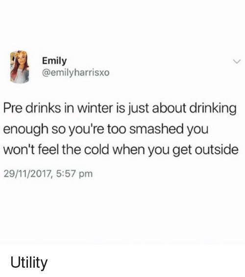 Drinking, Winter, and Girl Memes: Emily  @emilyharrisxo  Pre drinks in winter is just about drinking  enough so you're too smashed you  won't feel the cold when you get outside  29/11/2017, 5:57 pm Utility