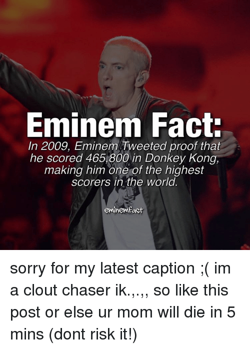 Donkey, Eminem, and Memes: Eminem Fact:  In 2009, Eminem Tweeted proof that  he scored 465, 800 in Donkey Kong,  making him one of the highest  scorers in the world.  eminemfact sorry for my latest caption ;( im a clout chaser ik.,.,, so like this post or else ur mom will die in 5 mins (dont risk it!)