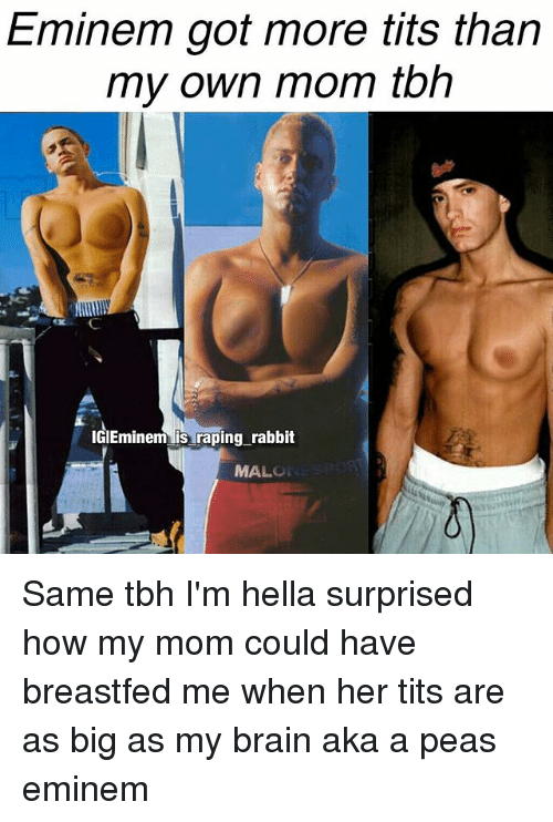 Eminem, Memes, and Tbh: Eminem got more tits than  my own mom tbh  IGIEminem raping rabbit  MAL Same tbh I'm hella surprised how my mom could have breastfed me when her tits are as big as my brain aka a peas eminem