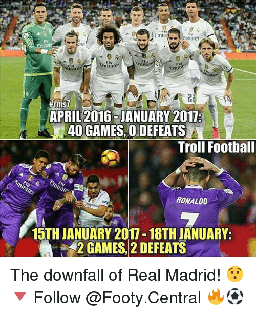 Memes, Real Madrid, and Troll: Emira  mirates  mira  mirare  Emir  APRIL 2016 JANUARY 2017:  40 GAMES, O DEFEATS  Troll Football  RONALDO  15TH JANUARY 2017 18TH JANUARY.  2 GAMES, 2 DEFEATS The downfall of Real Madrid! 😯 🔻 Follow @Footy.Central 🔥⚽️