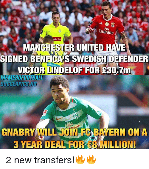 Onas: Emirates  MANCHESTER UNITED HAVE  SIGNEDBENEGASSWEDISHDEFENDER  VICTO  ND  FOR 30,7m  MEMESOFO  ILL JUNEDEAYERN ONA  3 YEAR DEAL FOR MILLION! 2 new transfers!🔥🔥