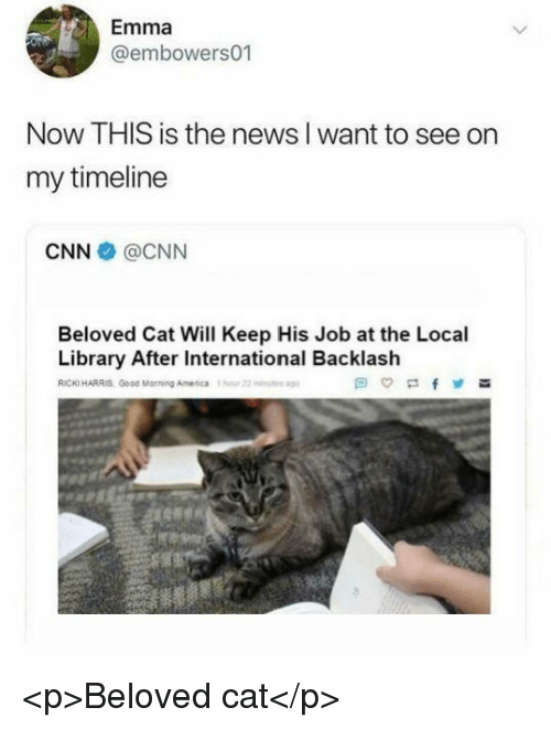 America, cnn.com, and News: Emma  @embowers01  Now THIS is the news I want to see on  my timeline  CNN @CNN  Beloved Cat Will Keep His Job at the Local  Library After International Backlash  RICKI HARRIS Good Morning America our 22 <p>Beloved cat</p>