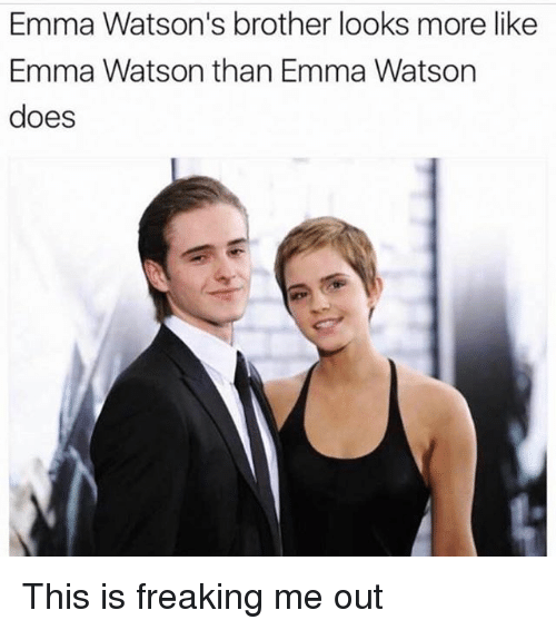 Girl Memes, Brother, and Brothers: Emma Watson's brother looks more like  Emma Watson than Emma Watson  does This is freaking me out