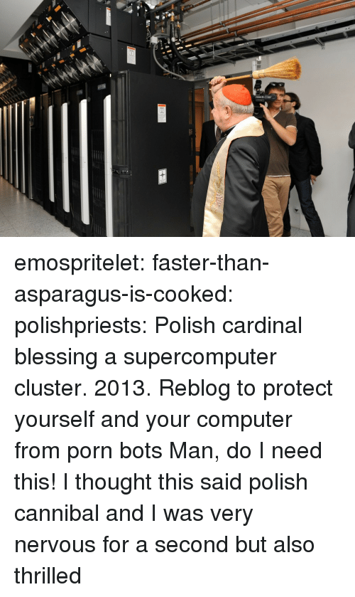 cardinal: emospritelet: faster-than-asparagus-is-cooked:  polishpriests:  Polish cardinal blessing a supercomputer cluster. 2013.  Reblog to protect yourself and your computer from porn bots  Man, do I need this!   I thought this said polish cannibal and I was very nervous for a second  but also thrilled