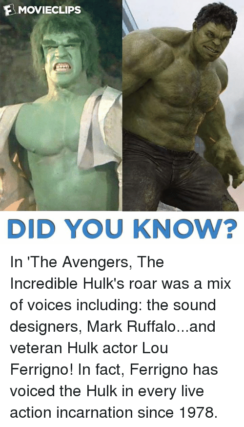 lou ferrigno: EMOVIECLIPs  DID YOU KNOW? In 'The Avengers, The Incredible Hulk's roar was a mix of voices including: the sound designers, Mark Ruffalo...and veteran Hulk actor Lou Ferrigno! In fact, Ferrigno has voiced the Hulk in every live action incarnation since 1978.