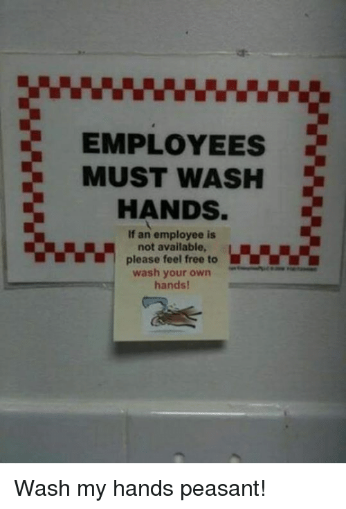 Memes, Peasant, and 🤖: EMPLOYEES  MUST WASH  HANDS  If an employee is  not available  please feel free to  wash your own  hands! Wash my hands peasant!
