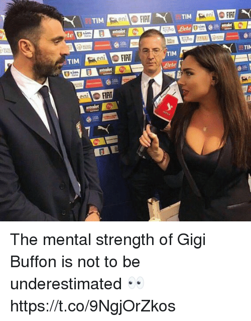 Fiat: en  te  TIM  TI  TiM  Lete  FIAT  ntralot  ent The mental strength of Gigi Buffon is not to be underestimated 👀 https://t.co/9NgjOrZkos