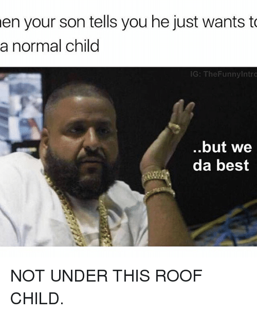 we-da-best: en your son tells you he just wants to  a normal child  IG: TheFunny Intro  but we  da best NOT UNDER THIS ROOF CHILD.